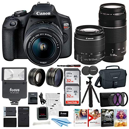 Canon-EOS-Rebel-T7-DSLR-Camera-EF-S-18-55mm-and-EF-75-300mm-Double-Zoom-Lens-200ES-Bag-Total-of-64GB-Card-and-Battery-Pack-Accessory-Bundle