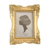 SIKOO Vintage Picture Frame 4x6 Antique Tabletop Wall Hanging Photo Frame with Glass Front for Home Decor (Gold)