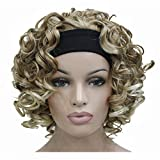 Aimole 16 Inches Short Curly Hair Wigs Women's Wig 3/4 Half Wig with Black Headband(27T613)