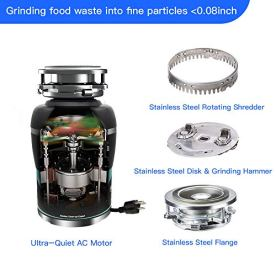 Garbage-Disposal-Quiet-Disposer-HomeAid-12-HP-Silence-AC-Motor-Continuous-Feed-with-Power-Cord-Kitchen-Food-Waste-Disposer