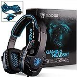 SADES SA901 7.1 Surround Stereo Pro USB Gaming Headset with Mic Deep Bass Headband Headphone (Black Blue)