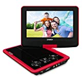 SYNAGY 9' Portable DVD Player CD Player with Swivel Screen Remote Control Rechargeable Battery Car Charger Wall Charger (Red)