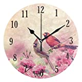 senya Wall Clock, Silent Non Ticking Round Cardinals Birds Clock, Battery Operated Home Decor Wall Clock for Living Room, Kitchen, Bedroom