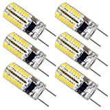 ZEEFO G8 LED Bulbs, Dimmable 110V 2.5W Warm White 3000K, 64 X 3014 SMD Energy Saving Light Bulbs (20W Halogen G8 Led Bulb Equivalent) for Light Fitting, Under Counter Kitchen Lighting (6 Pack)