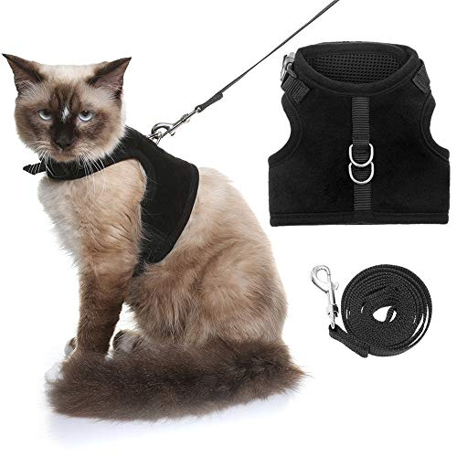 KOOLTAIL Escape Proof Cat Harness and Leash for Walking, Adjustable Soft Vest Harness for Cats Black 1