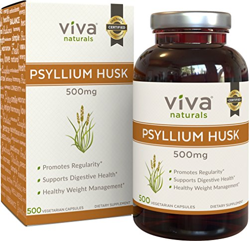 Viva Naturals Organic Psyllium Husk, 500mg, 500 Vegetarian Capsules - The BEST Fiber Supplement for Optimal Intestinal Health