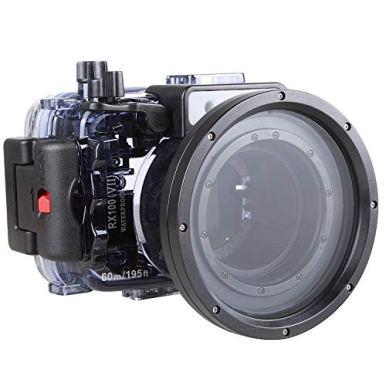 Fotga-Seafrogs-60m195ft-Underwater-Waterproof-Housing-Case-for-Sony-Cybershot-DSC-RX100-VII-RX100M7-Camera-Black