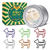Paper Clips, Funny Dog Shape Paperclips for Office Supply School Student, Secret Santa Gifts, Gag Gifts for Pet Lovers and Women Gifts(60 pcs) (60)