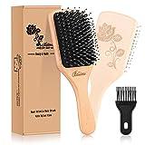 Bsisme Hair Brush-Boar Bristle Brush with Detangling Pins Wooden Paddle Detangler Hairbrush for Women Men Reduce Frizz Dry Restore Natural Shine Improve Hair Texture-Brush Cleaner Tool Included