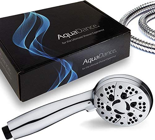 """AquaDance High Pressure 6-Setting 3.5"""" Chrome Face Handheld Shower with Hose for the Ultimate Shower Experience! Officially Independently Tested to Meet Strict US Quality & Performance Standards 19"""