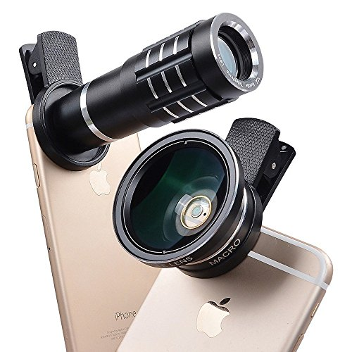 Shopping_Shop2000 HD Universal Clip-On Camera Lens Kit, 12X Zoom Telescope Telephoto Lens + Macro Lens + 0.45X Wide Angle Lens for iphone 7 Plus, 6s Plus, iphone X 8 Plus, Samsung, Smartphones (Black)