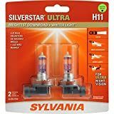 SYLVANIA - H11 SilverStar Ultra - High Performance Halogen Headlight Bulb, High Beam, Low Beam and Fog Replacement Bulb, Brightest Downroad with Whiter Light, Tri-Band Technology (Contains 2 Bulbs)