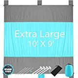 KeShi Sand Free Beach Blanket, Extra Large Oversized 9' x 10' for 7 Adults, Compact Outdoor Beach Mat, Quick Drying, Lightweight & Durable, Ultra Portable for Beach, Picnic, Camping