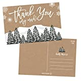 25 4x6 Woodland Christmas Holiday Thank You Postcards Bulk, Blank Cute Modern Kraft Winter Note Card Stationery For Wedding, Bridesmaids, Bridal or Baby Shower, Teachers, Religious, Business Cards