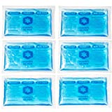 IceWraps 3x5 Gel Ice Pack Reusable - 6 Small Hot/Cold Ice Packs for Overheating, Injuries, Pain Relief First Aid
