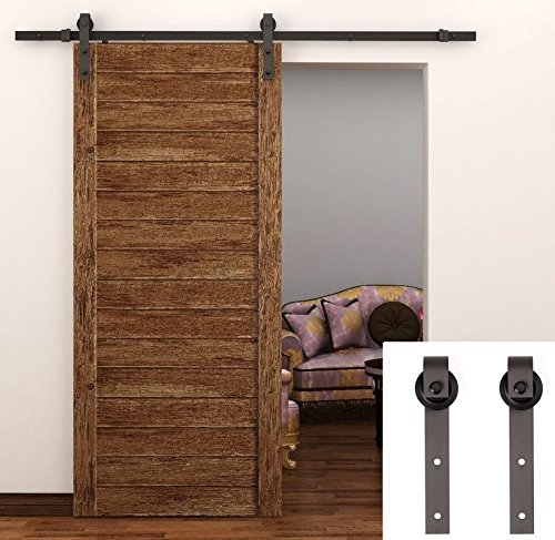 TCBunny 6.6 Feet Country Steel Sliding Barn Wood Door Hardware Antique Style (Brown)