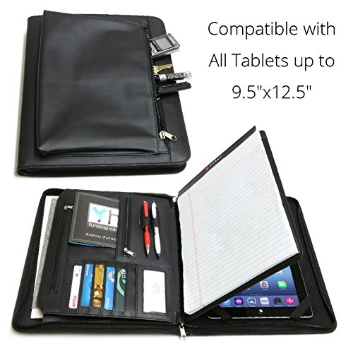 Universal Business Leather Portfolio for All Tablets up to 9.5'x12.5' iPad Pro12.9 9.7 12 3 4 Air Mini 2017, Microsoft Surface Pro 3 4, Samsung Galaxy (with Built-in Easel Stand)