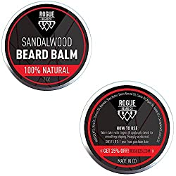 BEARD BALM SANDALWOOD by Rogue Beard Company, Leave In Conditioner with Natural Oils for Mustache Grooming and Beard Growing for Men 2 oz  Image 2