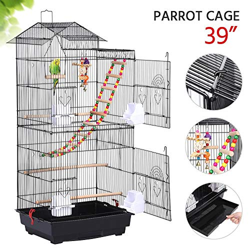 Yaheetech 18''L x 14''W x 39''H Roof Top Large Metal Bird Cage for Mid-Sized Parrots Cockatiels Sun Conures Green Cheek Parakeets Budgie Finch Lovebird Parrotlet Pet Bird Cage w/1 Ladder & 2 Hanging