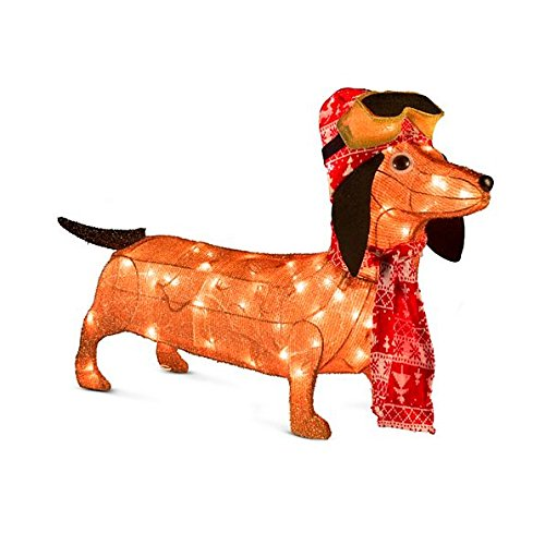 lighted tinsel dachshund goggles outdoor christmas decoration