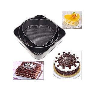 Konesky Non Stick Baking Pan Springform Cake Tin Set Oven Tray Bakeware DIY Cake Bread Mold (Round, Heart, Square Shape) 51agu1lTQSL
