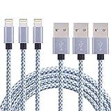 CBoner Lightning Cable certificado de Nylon Trenzado para cargador USB de iPad, iPod Nano 7, iPhone 7/7Plus, 6/6Plus/6s/6s Plus, SE/5S/5, 3 unidades (blanco y gris, 1,8m)