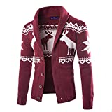 Product review for Dasior Men's V Neck Deer Pattern Knitted Cotton Sweater Slim Fit Cardigan