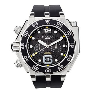 Mulco Buzo Helio Quartz Swiss Chronograph Movement Men's Watch   Premium Analog Display with Steel Accents   Silicone Watch Band   Water Resistant Stainless Steel Watch   Black Ion-Plated (Black)