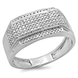 0.45 Carat (ctw) Sterling Silver White Diamond Men's Flashy Hip Hop Pinky Ring 1/2 CT (Size 10)
