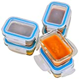 Elacra [6-Pack, 4oz] Glass Baby Food Storage Containers - Small Glass Containers with BPA-Free & Locking Lids - Freezer and Microwave Safeæ