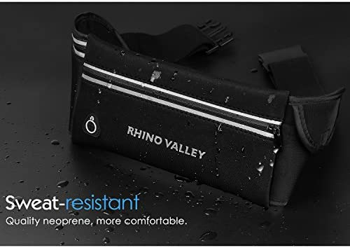 Rhino Valley Sports Running Belt, 3 Pockets Water Resistant Waist Pack, Fitness Workout Fanny Pack Phone Pouch Compatible with iPhone 11/11 Pro Max/X/Xr/Xs Max/8/7, Galaxy Note 10/10 Plus/S20/S10/S9 5