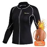 Women Hot Sweat Weight Loss Shirt Neoprene Body Shaper Sauna Jacket Suit Workout Long Training Clothes Fat Burner Top (Black Sauna Suit, L)