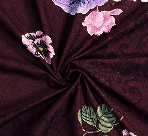 51amczZh81L - HIYANSHI HOME FURNISHING Glace Cotton King Size Maroon Flower Design Double Bedsheet 180 TC with 2 Pillow Covers
