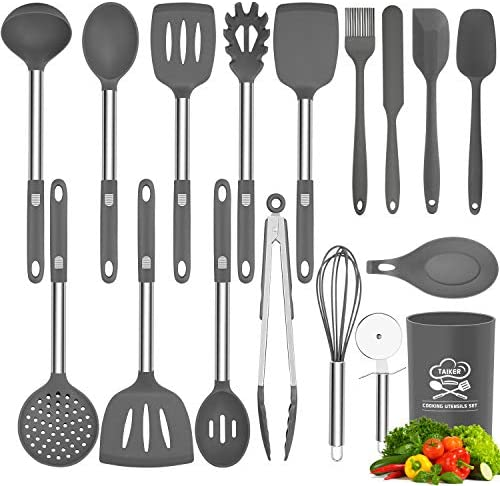 Silicone Cooking Utensil Set, Taiker Kitchen Cooking Utensils Set, Non-stick & Heat Resistant Silicone Cookware, BPA Free Non-Toxic Cooking Utensils, Kitchen Tools (Gray)