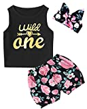 3PCS Outfit Set Baby Girls Floral Tops + Skirt with Headband (6-12 Months, Black02)
