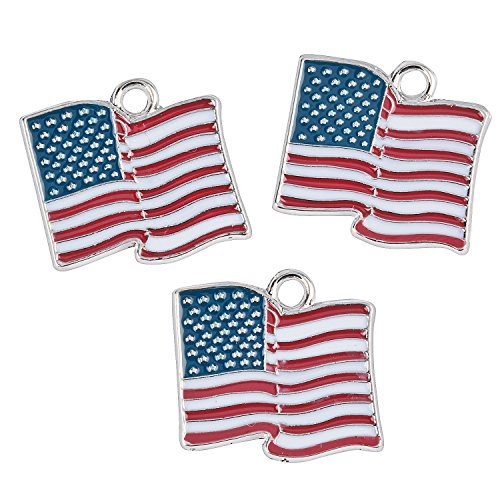 Fun Express - Red, White, Blue Flag Charm for Fourth of July - Craft Supplies - Adult Beading - Charms - Fourth of July - 12 Pieces