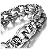 Urban Jewelry Amazing Stainless Steel Men's Link Bracelet Silver Black 9 Inch (Gift Box)