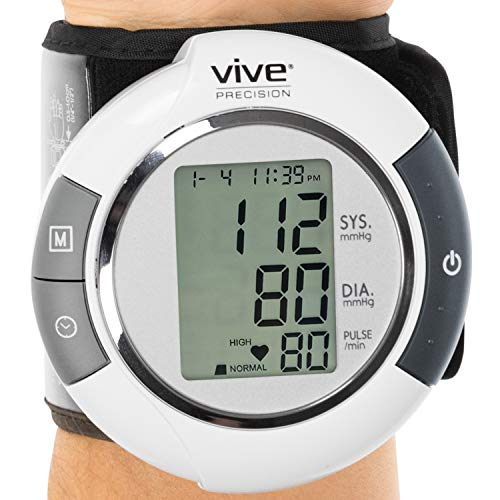 Vive Precision Wrist Blood Pressure Monitor - Automatic Digital BP Tester Machine - Portable, Accurate, Electronic, Home Meter Device - Auto Heart BPM Reader for Pulse Rate - 1 Size Fits Most