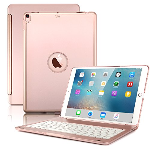 New iPad Air 2019( 3rd Generation)10.5'/iPad Pro 10.5' 2017 Keyboard Case,Boriyuan Protective Ultra Slim Hard Shell Folio Stand Smart Cover with 7 Colors Backlit Wireless Bluetooth Keyboard(Rose Gold)