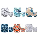 ALVABABY Pocket Cloth Diapers Reusable, Washable Adjustable, One Size for Baby Boys and Girls, 6 Pack with 12 Inserts for Black Friday 6DM26