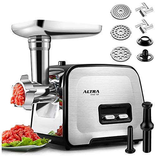 Powerful-ALTRA-Electric-Food-Meat-Grinder-Heavy-Duty-Multifunction-Meat-Mincer-Sausage-Stuffer-with-Sausage-Tube-Kubbe-Maker-2-Stainless-Steel-Blades-3-Sizes-Plates-Concealed-Storage-Box-Design