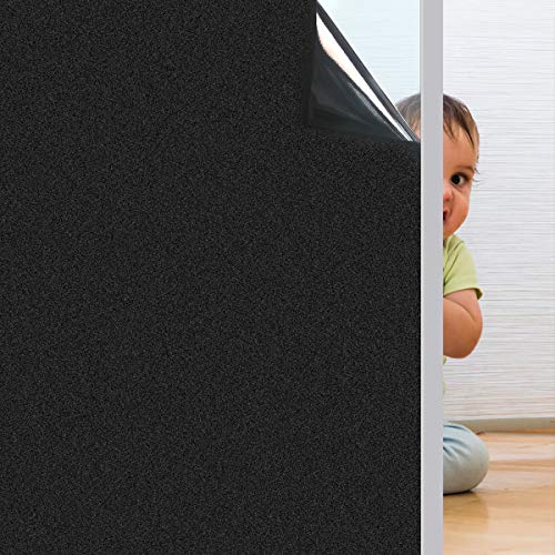 Coavas Window-Blackout-Film Non Adhesive Static Cling Tint Darkening Frosted Black Window Sticker Insulation 100% Light Blocking for Baby's Room Bedroom and Home 17.7' x 78.7'