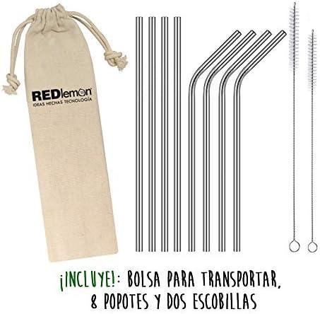51ax89bxFFL. AC  - Redlemon Popotes de Acero Inoxidable Reutilizables con Bolsa de Transporte (8 Popotes), 2 Cepillos Especiales para Limpieza, Ecológicos #Amazon