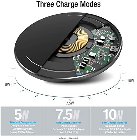 TOZO W1 Wireless Charger Thin Aviation Aluminum Computer Numerical Control Technology Fast Charging Pad Black (NO AC Adapter) 13