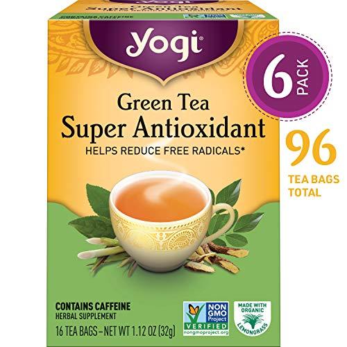 Yogi Tea - Green Tea Super Antioxidant - Helps Reduce Free Radicals - 6 Pack, 96 Tea Bags Total