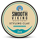 Hair Clay for Men, Best Pliable Molding Cream with Strong Hold & Matte Finish, Product for Modern Hairstyles- 2 OZ, Smooth Viking