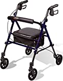 Carex Step 'N Rest Aluminum Rollator Walker With Seat - Rolling Walker For Seniors With Back...