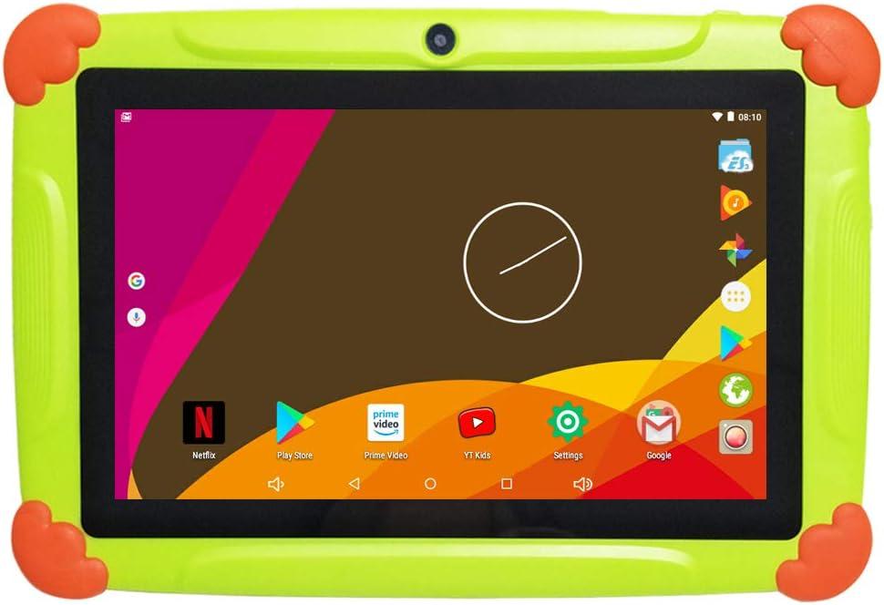 Tablette Enfants avec WiFi 2 GO Ram 32 GO Rom Tablette Tactile Enfants 7 Pouces Android-Google Play Store & Contrôle Parental Youtube, HD IPS1280*800 Quad Core Tablette - Vert