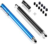 Bargains Depot (2 Pcs) [New Upgraded][0.18-inch Small Tip Series] 2-in-1 Stylus/Styli 5.5-inch L with 10 Replacement Rubber Tips -Black/Blue