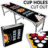 Drinking Game Zone Beer Pong Table With Cup Holes - 8 Foot Easy Fold up w/Adjustable Height - Professional Black + Yellow Design - Perfect for Tailgates, BP Parties, Flip Cup, Pregames By